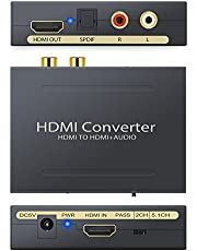 CAMWAY HDMI to RCA L/R Audio Extractor Converter Optical TOSLINK SPDIF Stereo Audio Extractor Converter Video Audio Splitter Adapter for Apple TV and Various Blu-ray Player