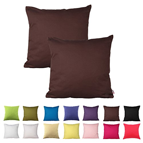 Queenie® - 2 Pcs Solid Color Cotton Decorative Pillowcase Cushion Cover for Sofa Throw Pillow Case Available in 14 Colors & 5 Sizes (22 X 22 Inch (55 X 55 Cm), Dark Brown)