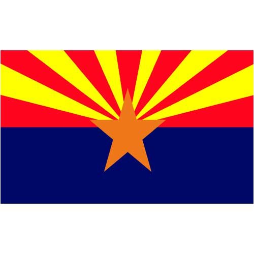 Valley Forge, Arizona State Flag, Nylon, 3'x5', 100% Made in USA, Canvas Header, Heavy-Duty Brass Grommets ()