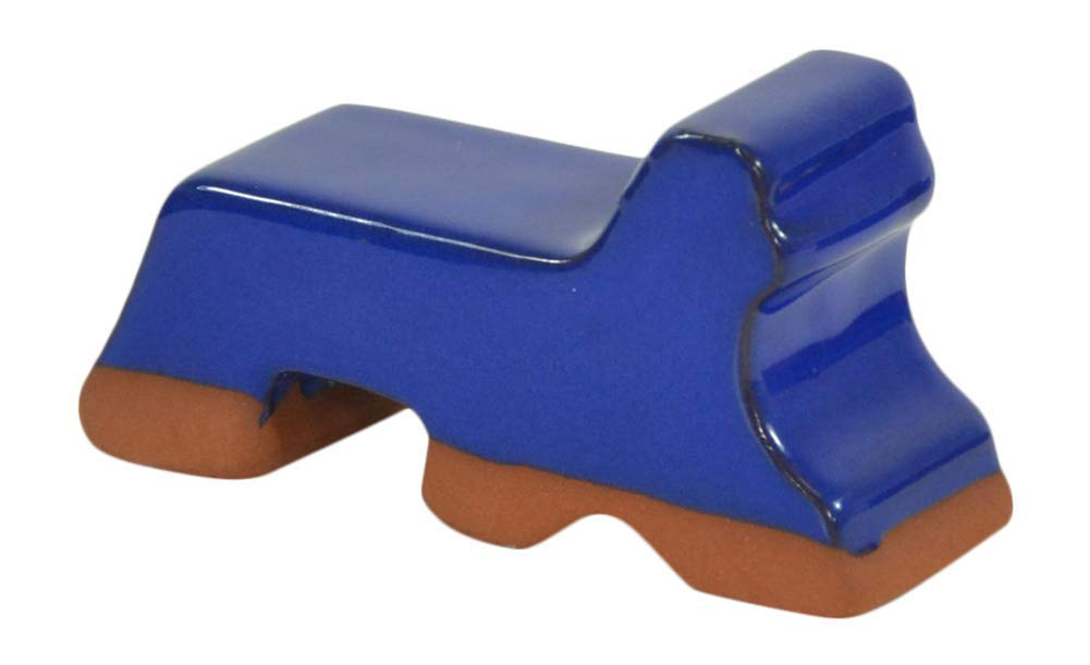 Ceramic Pot Feet 3-Pack -Blue Glaze- Made In USA- Flower Pot Risers Glazed Ceramic Frost Proof Stoneware Clay Made For Planters- 3 Long x 1.5 Tall Handmade Recommended for 14-20 Pots