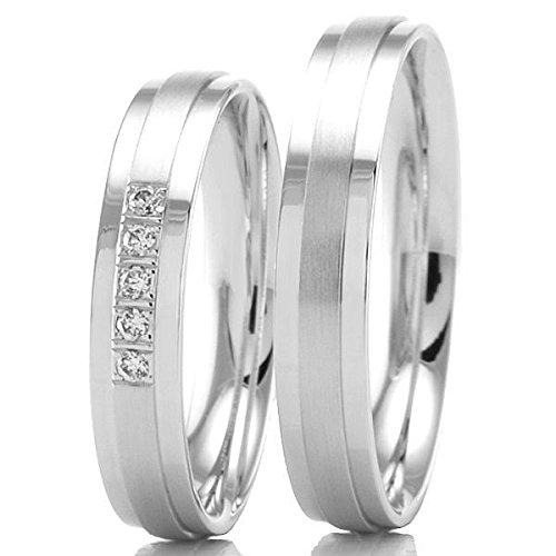 585 / - oro blanco anillos de boda F-07382-040 - carga 90