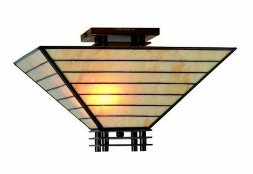 TBS24024IV Tiffany-style Mission Semi-flush Ceiling Fixture, White (Mission Bronze Ceiling Fixture)