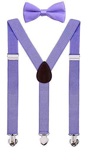 WDSKY Infants Bow Tie and Suspenders Set Y Back for Wedding 24 Inches Lavender ()