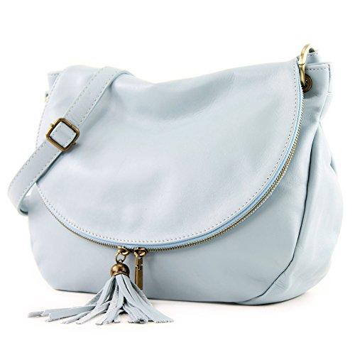 de Ice Schultertasche Nappaleder grande Handtasche Medio T40 ital Ledertasche Damentasche Blue Umhängetasche Ledertasche modamoda ATwdT