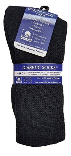 Diabetic Cotton Natural Blend Circulatory Crew Socks 3 Pack (9-11, Black)