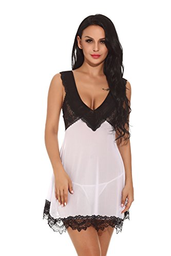 cf1bae247d9 Barelove Women s Sheer Babydoll Lingerie Nightgown Dress Lace  Chemise(L