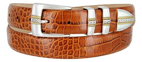 (Milan Italian Calfskin Leather Men's Designer Belt (36, Alligator Tan))