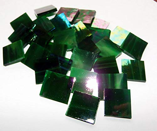 Stained Glass Mosaic Tiles for Art DIY Crafts - 25 ct - 3/4 inch Iridescent Dark Green Wispy - for Indoor or Outdoor Mosaic Art Projects (Iridescent Stained Glass)