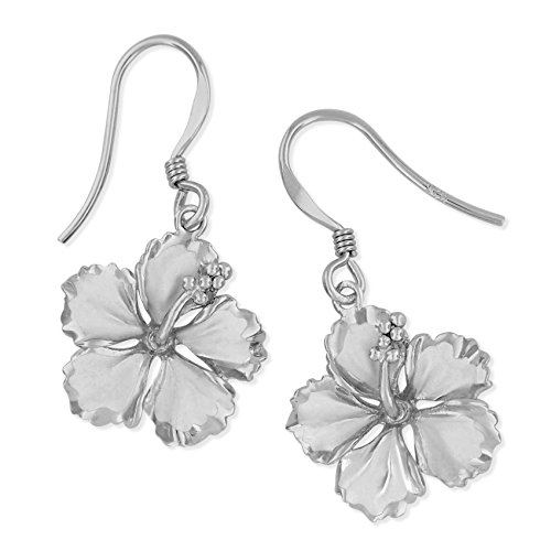 Sterling Silver 5/8 Inch Hibiscus Dangle Earrings ()