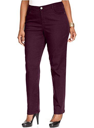 Style & Co. Womens Plus Denim Tummy Control Slim Leg Jeans Purple 16W