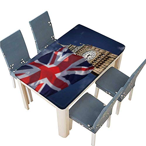PINAFORE Decorative Tablecloth British Union Jack Flag and Big Ben Clock Tower at City Assorted Size W61 x L100 INCH (Elastic Edge)