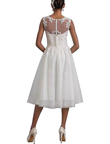 Ballkleid Spitze Damen Carnivalprom Elegant Kurz Brautkleid Elfenbein Sheer Abendkleider Hochzeitskleid w8TqpE
