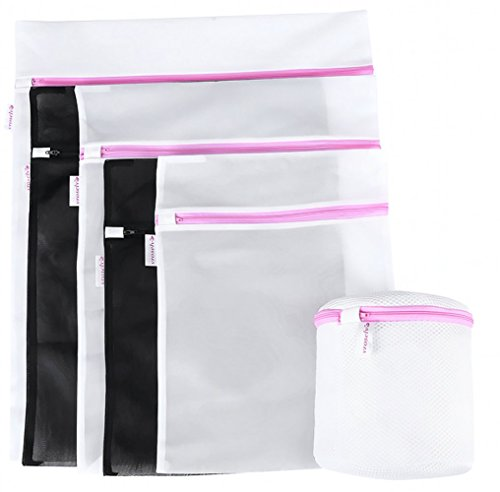 VROSELV Exquisite Washing Bags Laundry Travel Bra Bags, Black and White Wash Bag , Set Of 6(White:1 Medium&1 Large&1 Xlarge And Black:1 Medium&1 Large And 1 Large Bra),Bra Entire PE Floating Material