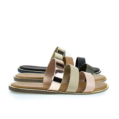 Comfortable Padded Flat Gladiator Sandal w Multi Colored Block Blush Beige Gold fh62y