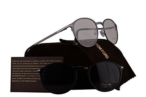 Tom Ford FT5476 Eyeglasses 55-18-145 Shiny Dark Ruthenium w/Demo Clear Lens & Magnetic Clip Blue Lens 12V TF5476 FT 5476 TF - Tom Frames Glasses Sale Ford
