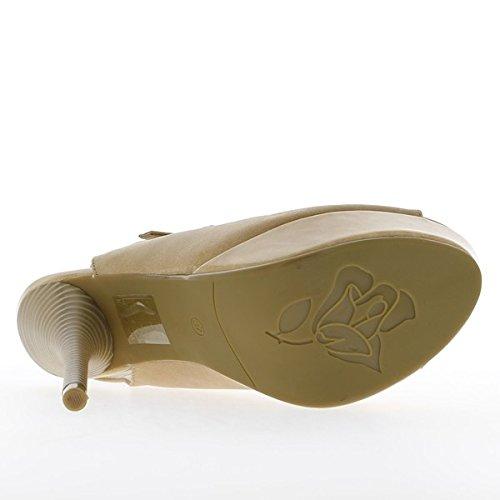 Sandales femme beiges à talons de 14,5cm et plateforme