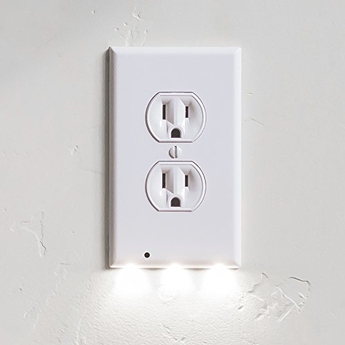 1 Pack SnapPower Guidelight - Outlet Wall Plate With LED Night Lights - No Batteries Or Wires - Installs In Seconds - (Duplex, White) (Bulb Pink Soft Globe)