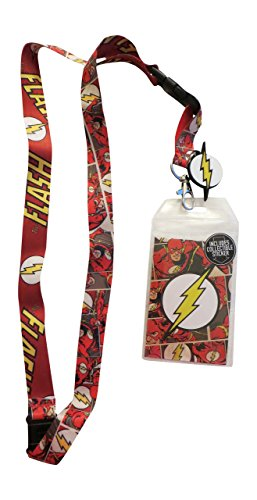 Lightning Collectible - DC Comic Flash Reversible Breakaway Keychain Lanyard with ID Holder, Rubber Lightning Bolt Logo Charm and Collectible Sticker