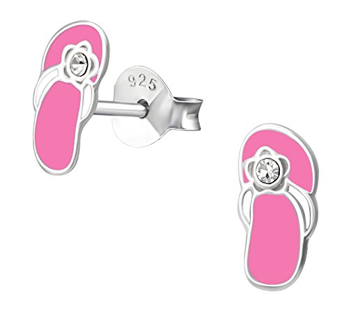 Best Wing Jewelry .925 Sterling Silver Pink Beach Sandals Tiny Stud Earrings for Children and Teens