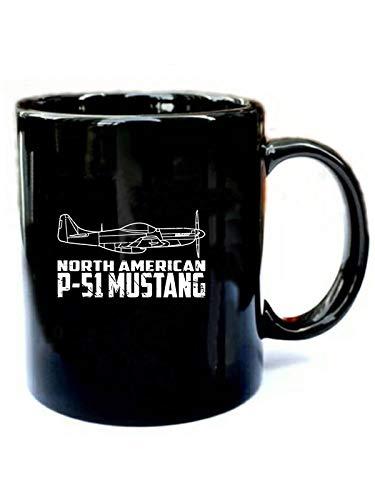 P-51 Mustang WWII Fighter Airplane Pilot - Funny Gift Black 11oz Ceramic Coffee Mug ()