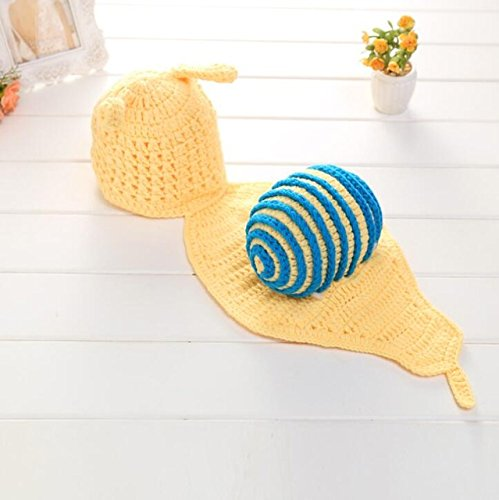 ArMordy(TM) Snail Handmade Newborn Photography Props Crochet Infant Baby Animal Costume for 0-3 Months 1 Set[ Yellow with Blue (Snail Costume For Dog)