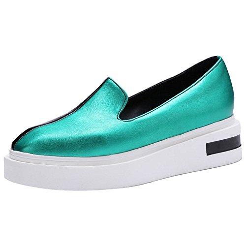 TAOFFEN Women Fashion Flatform Pumps Green