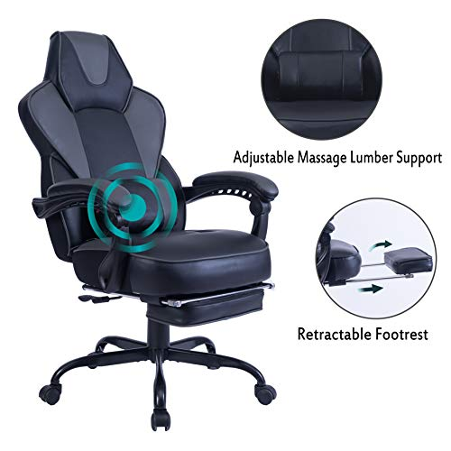 HEALGEN Reclining Gaming Chair with Large Lumbar Support Cushion Racing Style Video Game PC Computer Gamer Gaming Chairs Ergonomic Office High Back Chair with Headrest (9085-Grey)