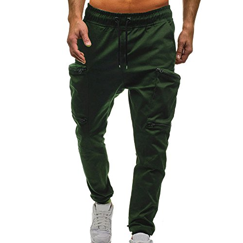 - Creazrise Men's Active Basic Jogger Fleece Drawstring Classic Sweatpants Pants with Zipper Army Green