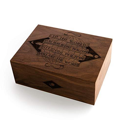 (You Are The World Laser Cut Wood Keepsake Box (Valentine's Day Gift/Wedding/Anniversary Gift/Baby Shower/Heirloom/Handmade))