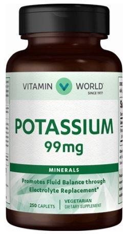 Electrolytes Fluid Balance (Vitamin World Potassium 99mg, Minerals Promotes Fluid Balance Through, Electrolyte Replacement, Vegetarian Dietary Supplement)