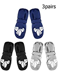 3 Pairs Winter Kids Snow Mitten Unisex Waterproof Ski Warm Gloves for Kids Aged 4-8 Years (Color Set 1)