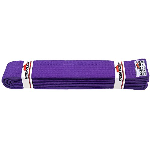 Tiger Cotton Belt (Tiger Claw 100% Cotton Martial Arts Uniform Ranking Belt- Purple)
