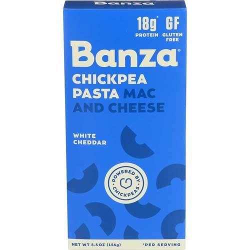 Banza Chickpea Mac and White Cheddar Cheese Pasta, 5.5 Ounce - 12 per case.