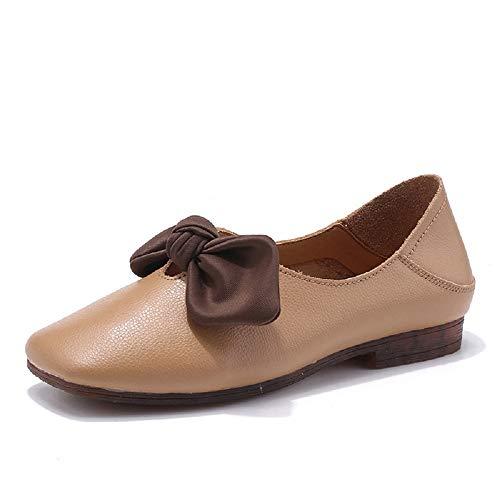 Taille Ballerines Soft En Slip Femmes Comfort 36 Gris Marron Qiusa On Cuir Chaussures Knot coloré Eu 7Td5xqdHw