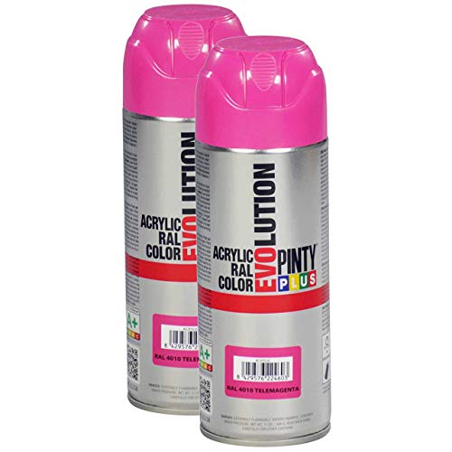 Fast Dry, Low Odor, Low VOC - Acrylic Spray Paint Pintyplus Evolution - Pack of 2 (Telemagenta)
