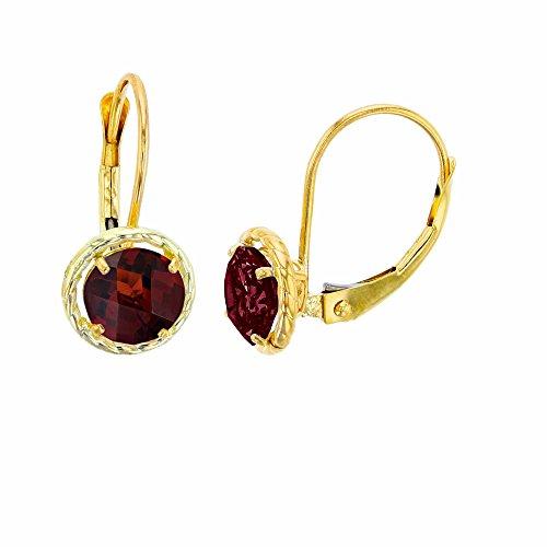 (14K Yellow Gold 5mm Round Garnet Center Stone Rope Frame Leverback Earring)