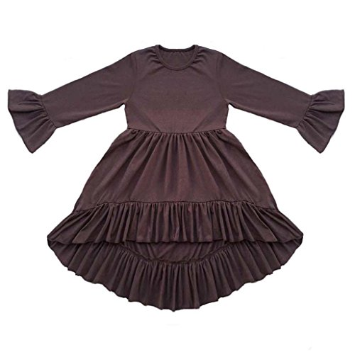 Coralup Girls' Ruffles Swallowtail Dress