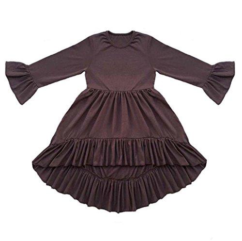 Coralup Girls' Ruffles Swallowtail Dress Brown(3XL,7-8Y)