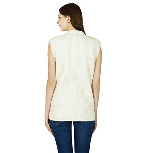 Algodón Invierno de mano caliente impresión de bloque de la capa acolchada mujeres chaqueta de la chaqueta reversible White-1