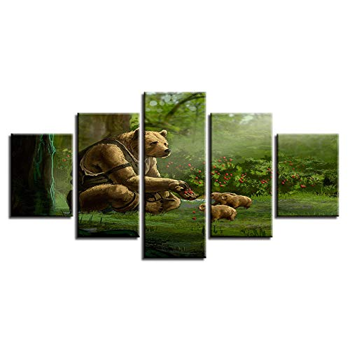 Dskin Large Home Canvas Wall Art Paintings Sets 5 Piece Multi Panel Framed Structure Living Room Bedroom Panoramic Print Wall Decor Pictures Dog Bear Family Forest Scenery Modular -150x80CM