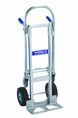 Wesco 220483 Cobra Jr. Aluminum Convertible Truck, Wide Tread Pneumatic Wheel, 12'' x 38'' Frame, 1200-lb. Load Capacity, 46-1/2'' Width x 40'' Height x 19'' Depth by Wesco