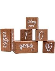 6 Pcs Milestone Pregnancy Blocks Baby Milestones Wooden Blocks with Cloth Bag Newborn Photography Props Gift Idea for Birth Christening Pregnancy or Baby Shower