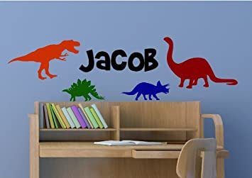 Dinosaur Wall Decal For Kids Bedroom Personalized Name Kids Room Decals,  Boys Name Decals,