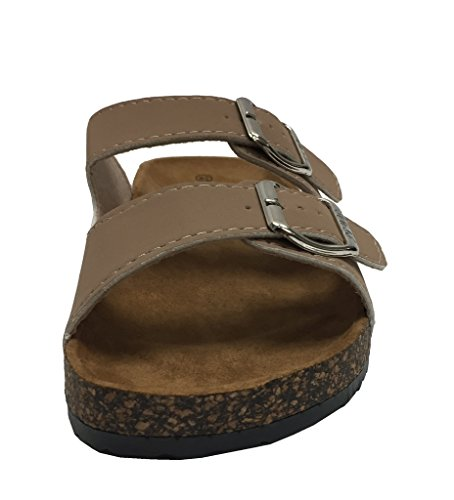 Strap Light Cork Taupe Buckle Sole Anna Double Fashion Sandal Annas Women's Slide xq4ZZI