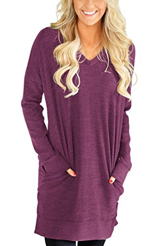 (XUERRT Womens Casual V-Neck Long Sleeves Pocket Solid Color Sweatshirt Tunics Blouse Tops(M,Wine Red))