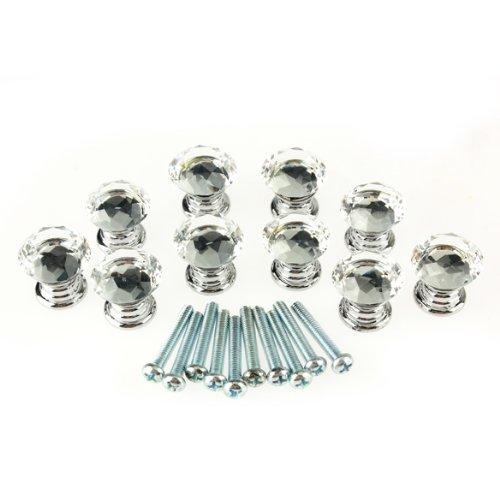 vktech 10 pcs 20mm crystal glass clear cabinet knob drawer pull handle kitchen door wardrobe hardware