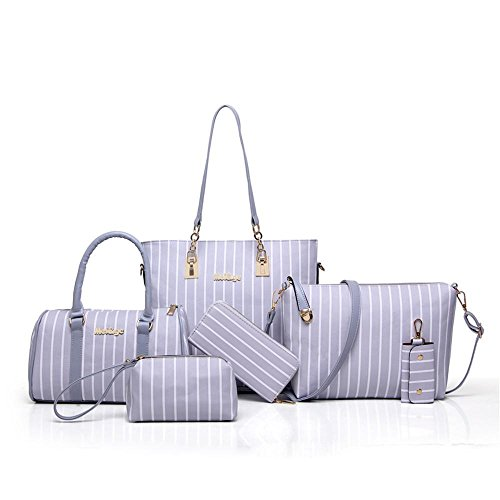 Aoligei Sac de messager mère sous paquet Fashion stripe six pièces sac féminin grande capacité unique épaule main D