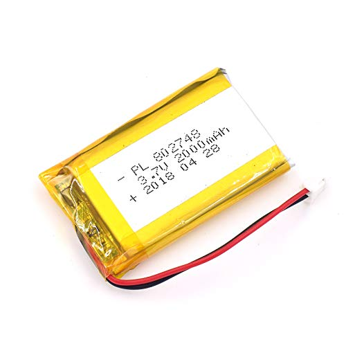 3.7V 2000mAh 802748 Lipo battery Rechargeable Lithium Polymer ion Battery Pack with JST Connector
