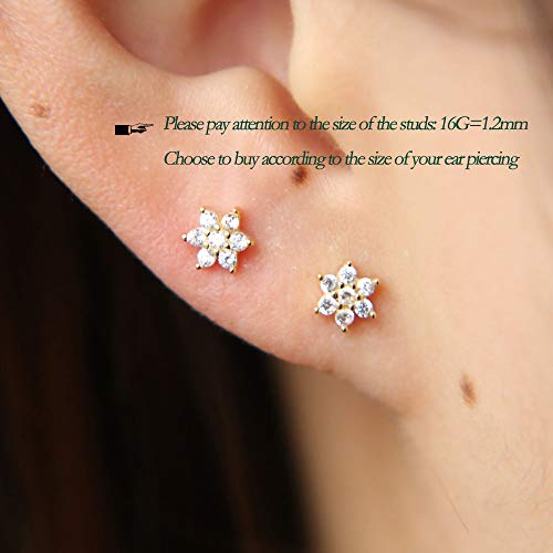 CZ Flower Labret Monroe Cartilage Tragus Helix jewelry 316L Stainless Steel 16G