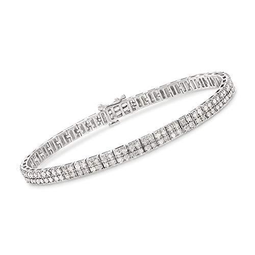 Ross-Simons 3.00 ct. t.w. Diamond 2-Row Bracelet in Sterling Silver